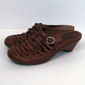 White Mountain Woven Leather Clog Mule